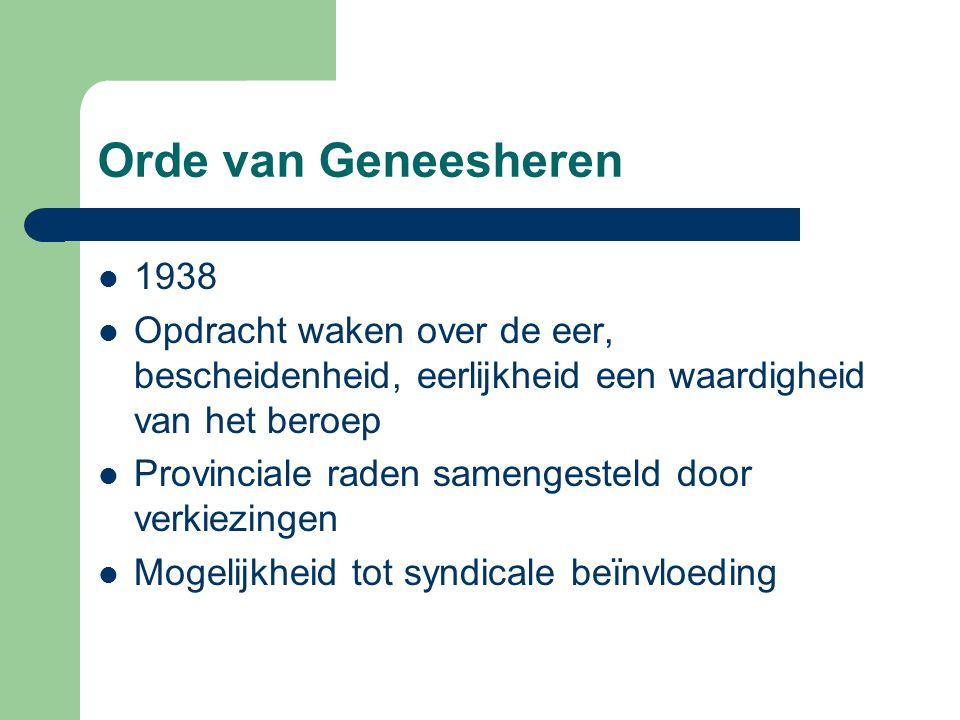 Orde van Geneesheren 1938 Opdracht waken over de eer, bescheidenheid, eerlijkheid een waardigheid van het beroep Provinciale raden samengesteld door v
