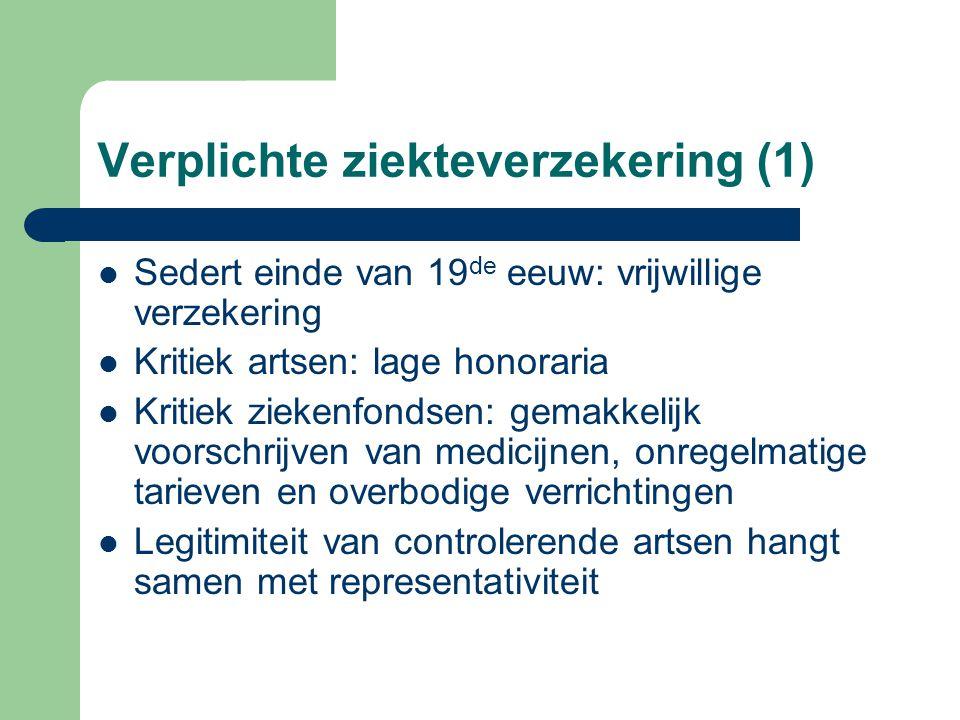 Verplichte ziekteverzekering (1) Sedert einde van 19 de eeuw: vrijwillige verzekering Kritiek artsen: lage honoraria Kritiek ziekenfondsen: gemakkelij