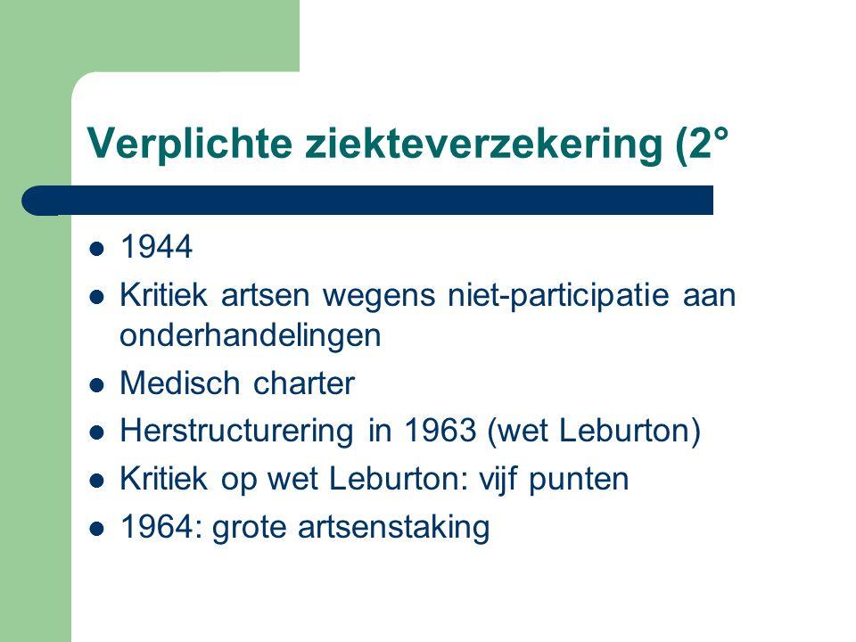 Verplichte ziekteverzekering (2° 1944 Kritiek artsen wegens niet-participatie aan onderhandelingen Medisch charter Herstructurering in 1963 (wet Lebur