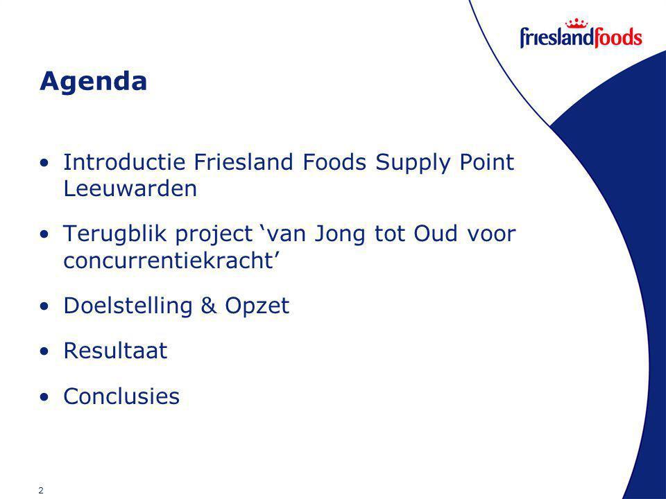 2 Agenda Introductie Friesland Foods Supply Point Leeuwarden Terugblik project 'van Jong tot Oud voor concurrentiekracht' Doelstelling & Opzet Resultaat Conclusies