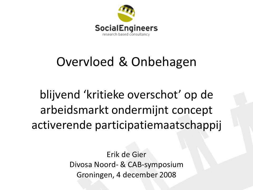Overvloed & Onbehagen blijvend 'kritieke overschot' op de arbeidsmarkt ondermijnt concept activerende participatiemaatschappij Erik de Gier Divosa Noo