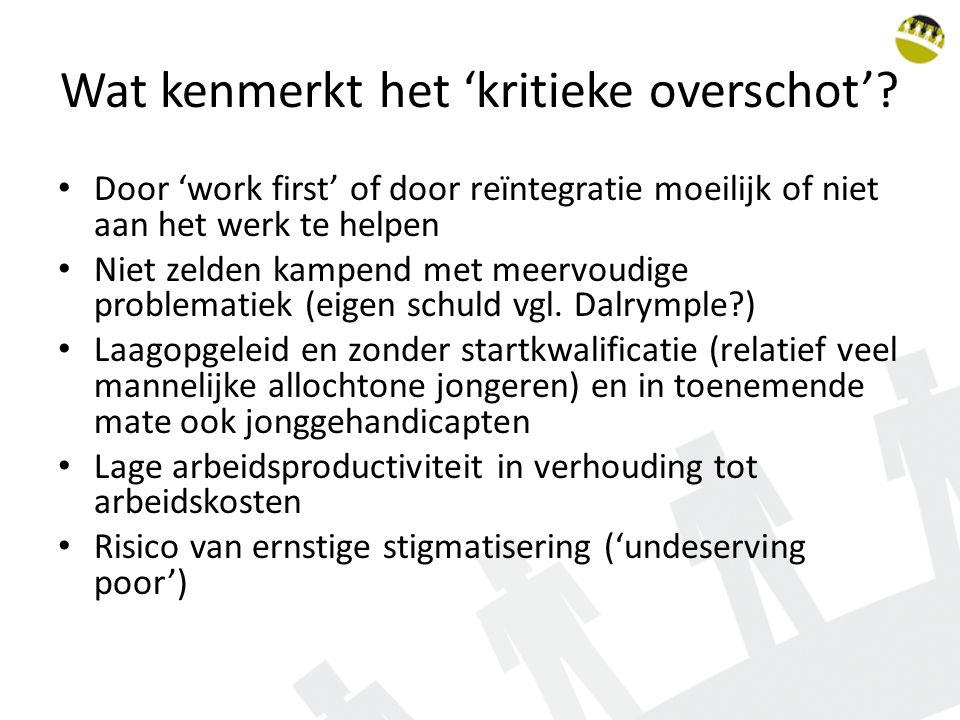 Wat kenmerkt het 'kritieke overschot'? Door 'work first' of door reïntegratie moeilijk of niet aan het werk te helpen Niet zelden kampend met meervoud