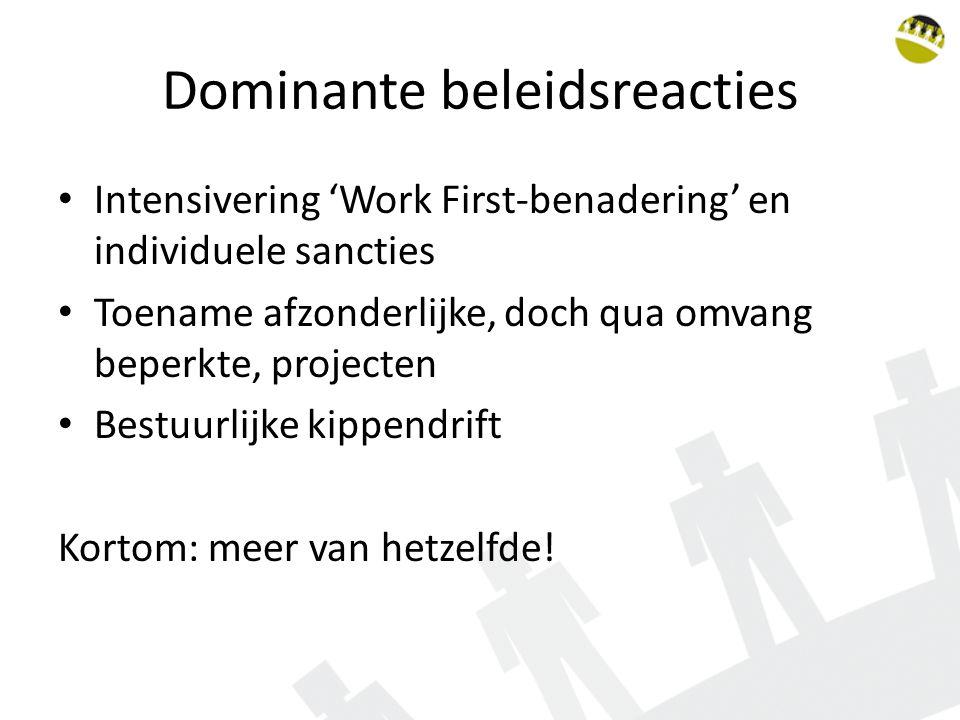 Dominante beleidsreacties Intensivering 'Work First-benadering' en individuele sancties Toename afzonderlijke, doch qua omvang beperkte, projecten Bes