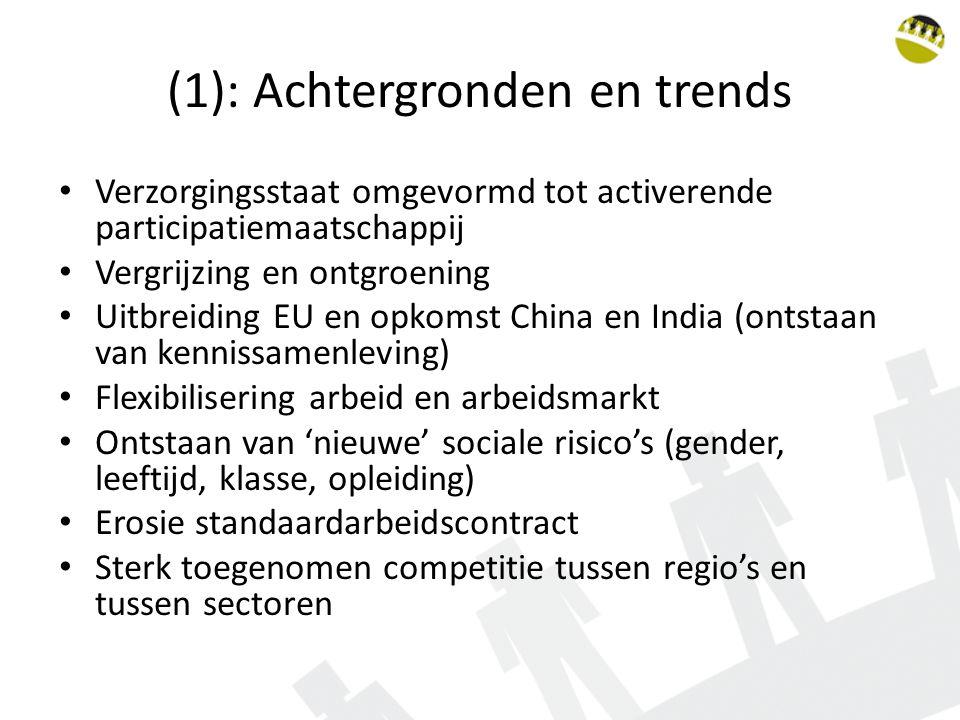 (2): Doelstellingen activerend arbeidsmarktbeleid Economisch: Activering beroepsbevolking Bestrijdring structurele en conjuncturele werkloosheid Voorkomen en opheffen van mismatches tussen vraag en aanbod Bevordering mobiliteit Bevordering productiviteit Sociaal: Bevordering kwaliteit van de arbeid Bevordering welzijn en werkzekerheid Bestrijding armoede Sociale insluiting Bevorderen van goede transities en tegengaan van slechte transities