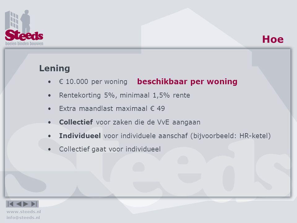 www.steeds.nl info@steeds.nl Hoe Van der Werffstraat Vervanging galerijhek€ 148.650 Nieuwe entreehal€ 65.600 Kosten collectief€ 214.250 Kosten per appartement€ 3.607 Maandlast (bruto)€ 17,51 Individueel voor individuele aanschaf (bijvoorbeeld: HR-ketel) Investering individueel€ 6.393 max Maandlast (bruto)€ 31,03 Rekenvoorbeeld!