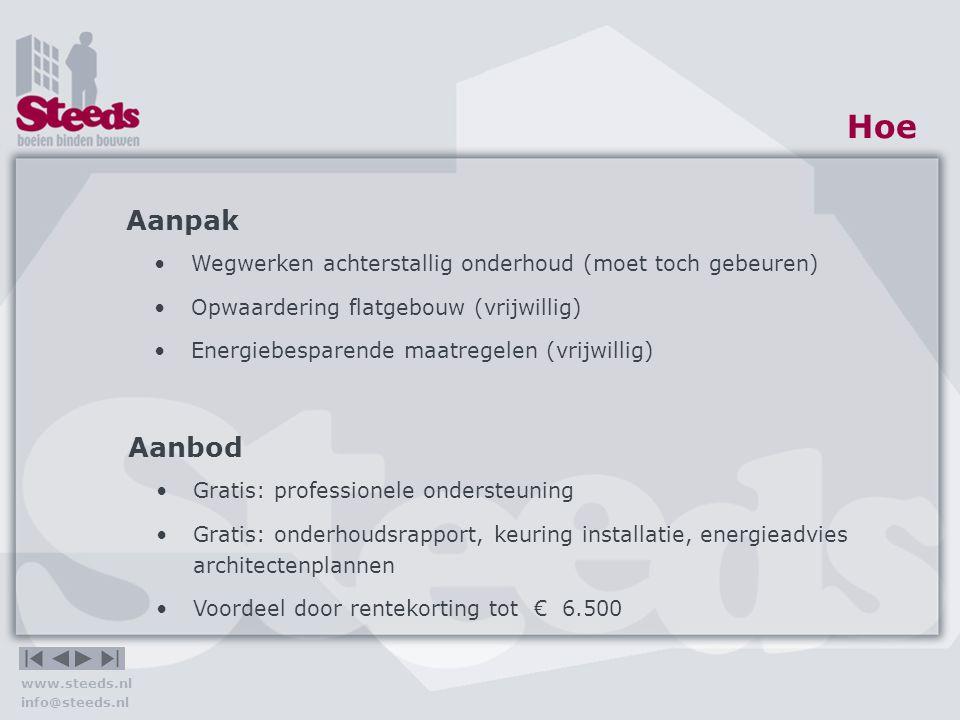 www.steeds.nl info@steeds.nl Hoe Wat eerst.