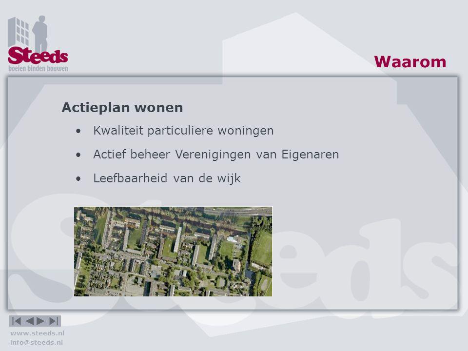 www.steeds.nl info@steeds.nl Waarmee Maatregelen Wegwerken achterstallig onderhoud Verbeteren uitstraling Energiebesparing