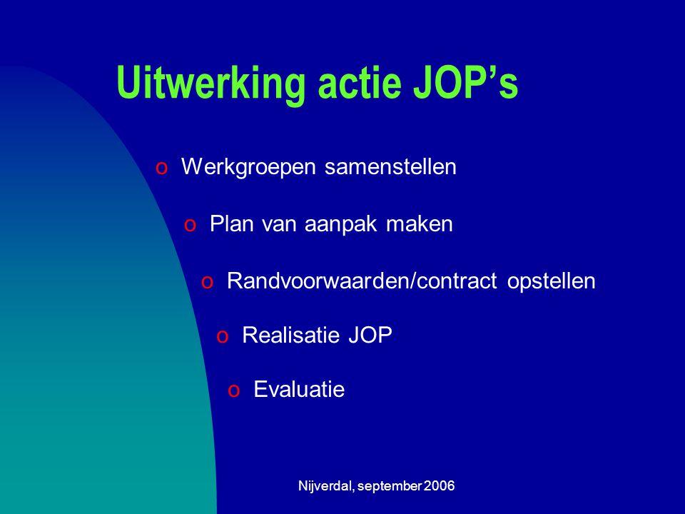 Nijverdal, september 2006 Uitwerking actie JOP's oWerkgroepen samenstellen o Plan van aanpak maken o Randvoorwaarden/contract opstellen o Realisatie JOP o Evaluatie