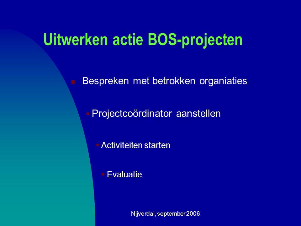 Nijverdal, september 2006 Uitwerken actie BOS-projecten Bespreken met betrokken organiaties  Projectcoördinator aanstellen  Activiteiten starten  Evaluatie