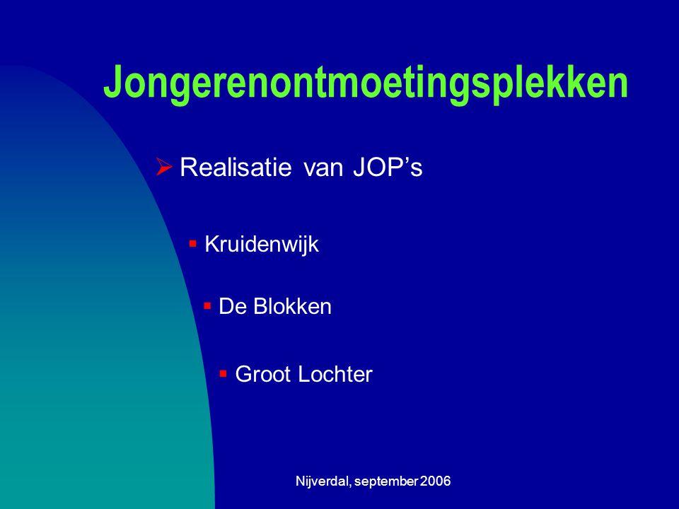 Nijverdal, september 2006 Jongerenontmoetingsplekken  Realisatie van JOP's  Kruidenwijk  De Blokken  Groot Lochter
