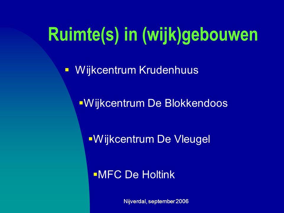 Nijverdal, september 2006 Ruimte(s) in (wijk)gebouwen  Wijkcentrum Krudenhuus  Wijkcentrum De Blokkendoos  Wijkcentrum De Vleugel  MFC De Holtink