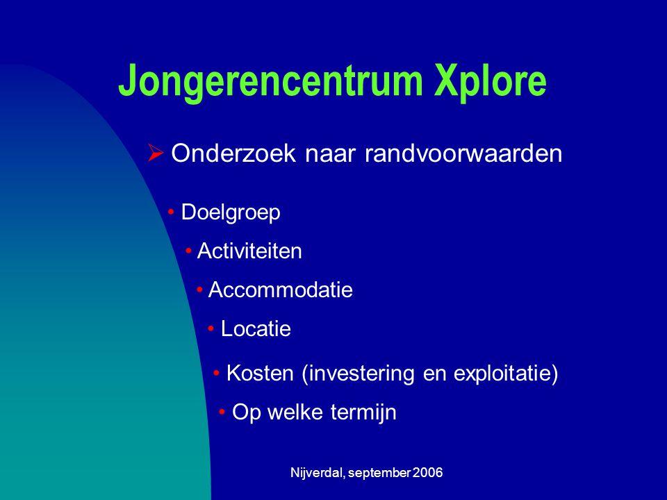 Nijverdal, september 2006 Jongerencentrum Xplore  Onderzoek naar randvoorwaarden Accommodatie Op welke termijn Doelgroep Activiteiten Locatie Kosten (investering en exploitatie)