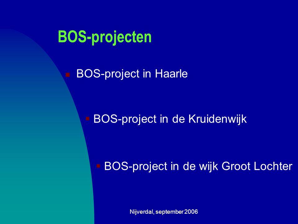 Nijverdal, september 2006 BOS-projecten BOS-project in Haarle  BOS-project in de Kruidenwijk  BOS-project in de wijk Groot Lochter