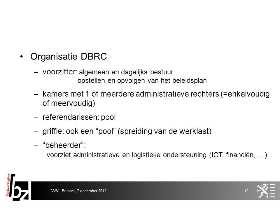 Organisatie DBRC –voorzitter: algemeen en dagelijks bestuur opstellen en opvolgen van het beleidsplan –kamers met 1 of meerdere administratieve rechte