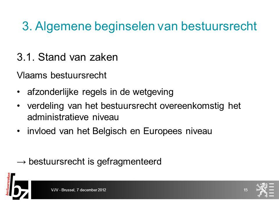 3. Algemene beginselen van bestuursrecht 3.1. Stand van zaken Vlaams bestuursrecht afzonderlijke regels in de wetgeving verdeling van het bestuursrech
