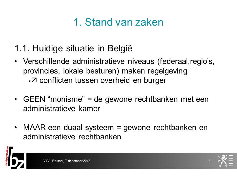 1. Stand van zaken 1.1. Huidige situatie in België Verschillende administratieve niveaus (federaal,regio's, provincies, lokale besturen) maken regelge