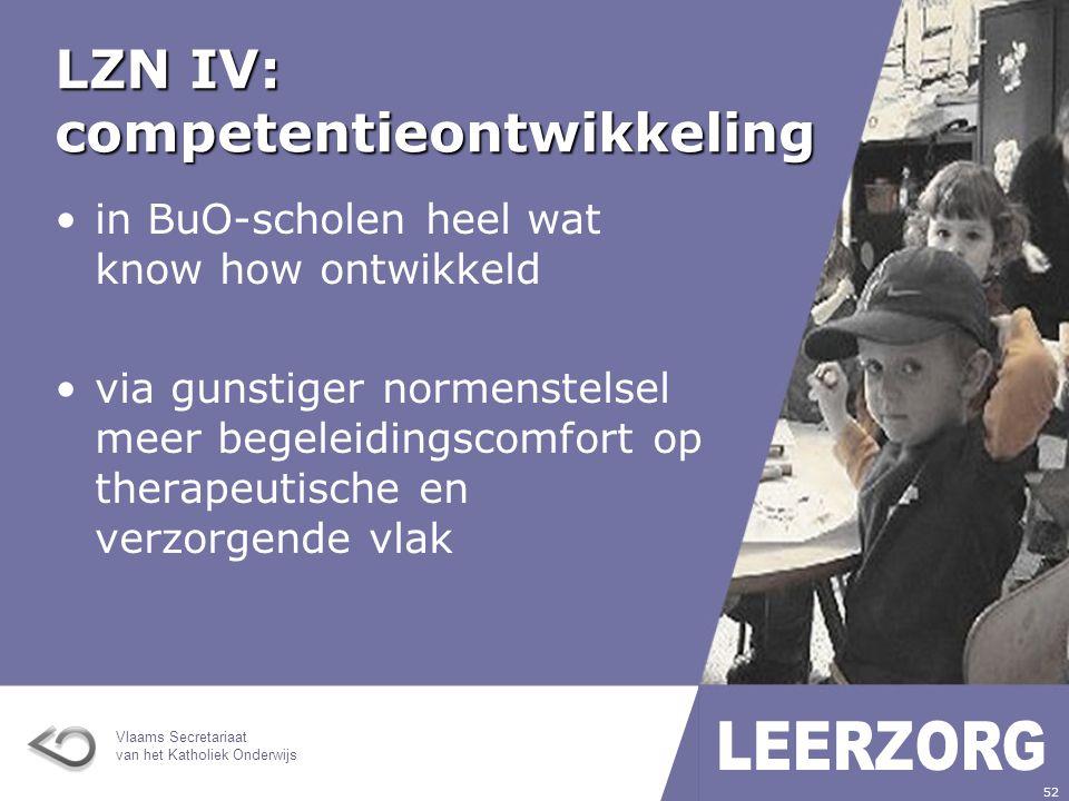 Vlaams Secretariaat van het Katholiek Onderwijs 52 LZN IV: competentieontwikkeling in BuO-scholen heel wat know how ontwikkeld via gunstiger normenstelsel meer begeleidingscomfort op therapeutische en verzorgende vlak