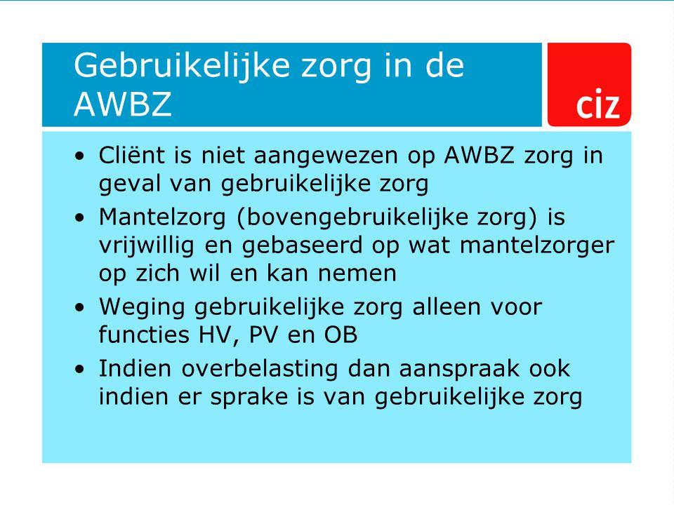Gebruikelijke zorg in de AWBZ Cliënt is niet aangewezen op AWBZ zorg in geval van gebruikelijke zorg Mantelzorg (bovengebruikelijke zorg) is vrijwilli