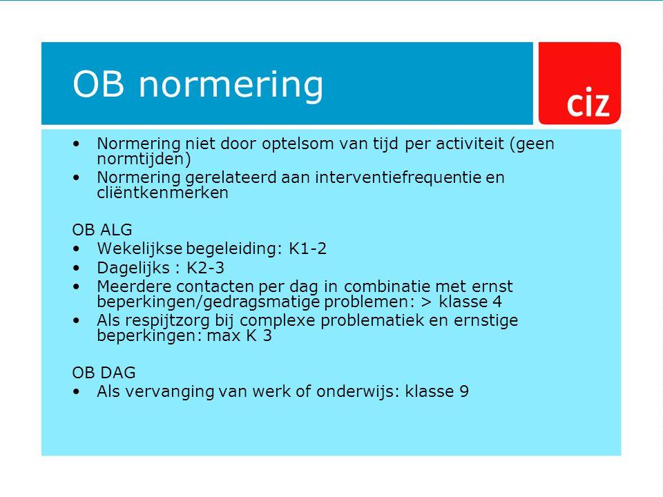 OB normering Normering niet door optelsom van tijd per activiteit (geen normtijden) Normering gerelateerd aan interventiefrequentie en cliëntkenmerken