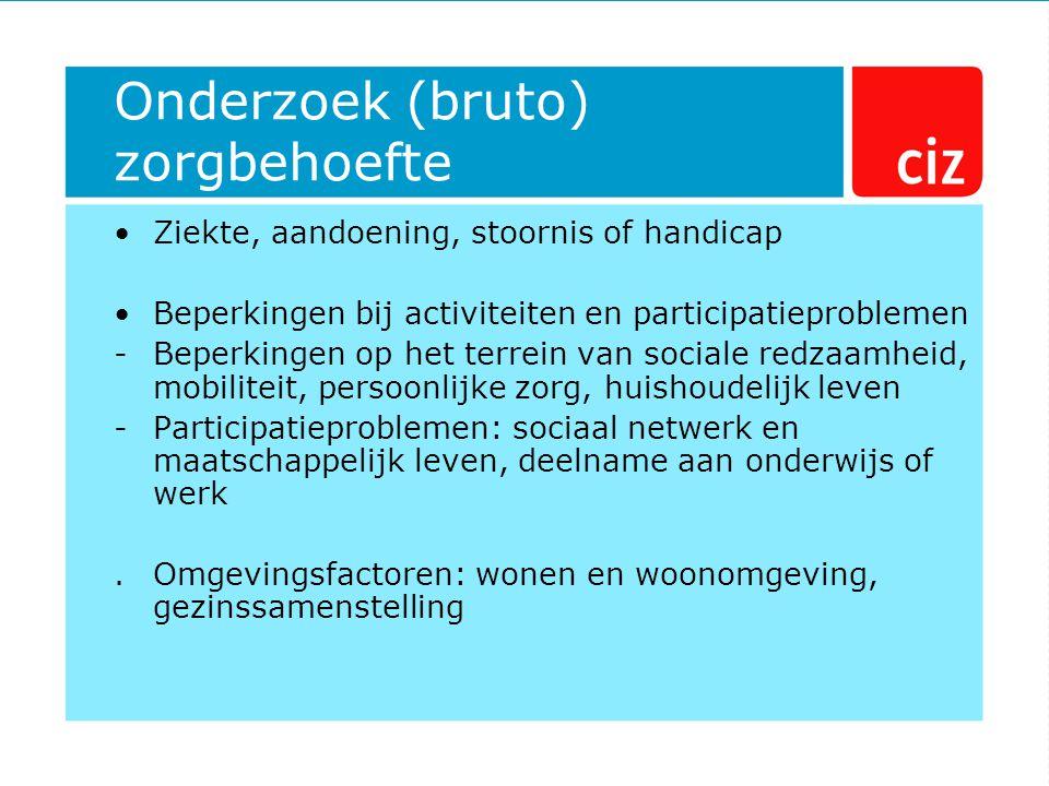 Onderzoek (bruto) zorgbehoefte Ziekte, aandoening, stoornis of handicap Beperkingen bij activiteiten en participatieproblemen -Beperkingen op het terr