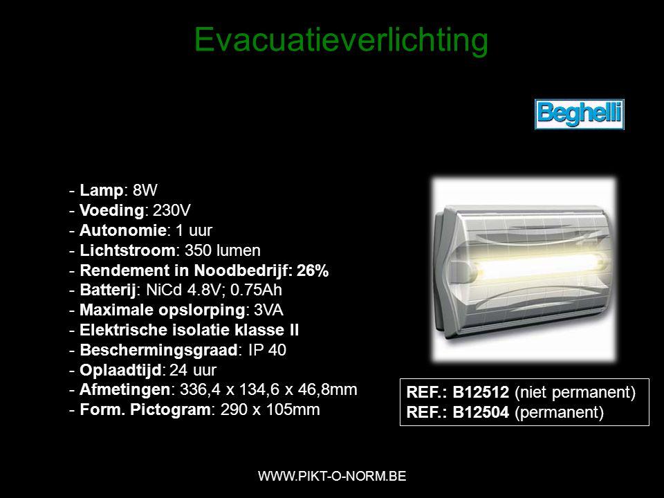 REF.: B12512 (niet permanent) REF.: B12504 (permanent) - Lamp: 8W - Voeding: 230V - Autonomie: 1 uur - Lichtstroom: 350 lumen - Rendement in Noodbedrijf: 26% - Batterij: NiCd 4.8V; 0.75Ah - Maximale opslorping: 3VA - Elektrische isolatie klasse II - Beschermingsgraad: IP 40 - Oplaadtijd: 24 uur - Afmetingen: 336,4 x 134,6 x 46,8mm - Form.