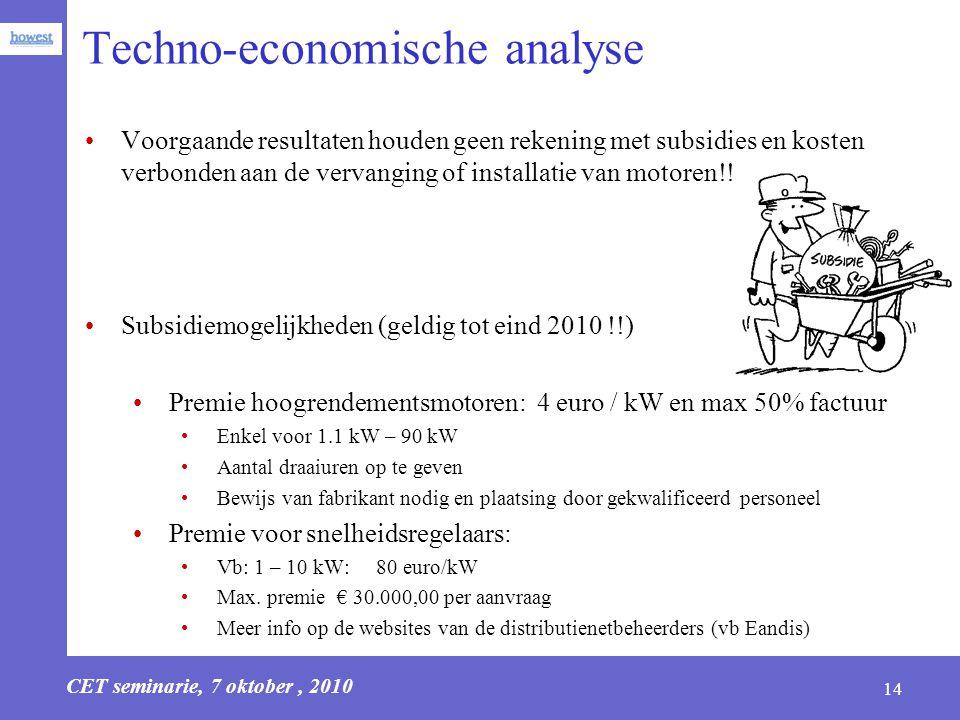 CET seminarie, 7 oktober, 2010 14 Techno-economische analyse Voorgaande resultaten houden geen rekening met subsidies en kosten verbonden aan de verva