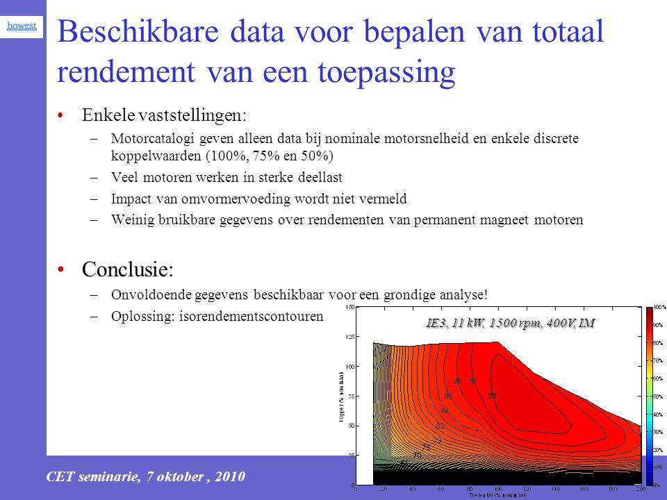 CET seminarie, 7 oktober, 2010 15 Beschikbare data voor bepalen van totaal rendement van een toepassing Enkele vaststellingen: –Motorcatalogi geven al
