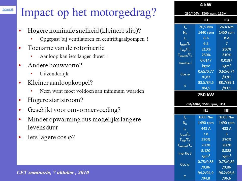 CET seminarie, 7 oktober, 2010 9 Impact op het motorgedrag? Hogere nominale snelheid (kleinere slip)? Opgepast bij ventilatoren en centrifugaalpompen