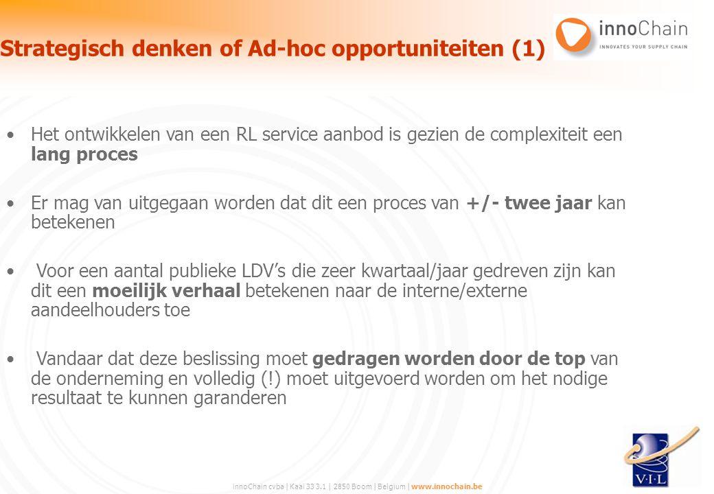 innoChain cvba | Kaai 33 3.1 | 2850 Boom | Belgium | www.innochain.be Het ontwikkelen van een RL service aanbod is gezien de complexiteit een lang pro