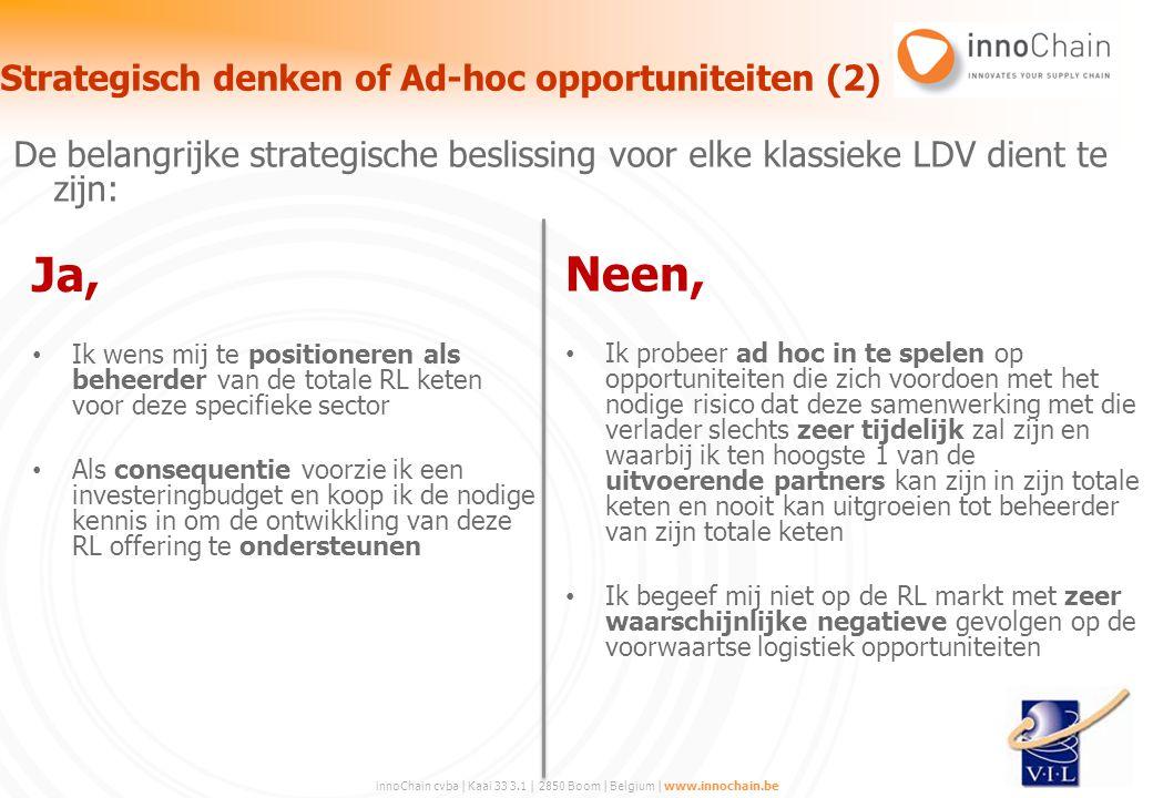 innoChain cvba | Kaai 33 3.1 | 2850 Boom | Belgium | www.innochain.be De belangrijke strategische beslissing voor elke klassieke LDV dient te zijn: St
