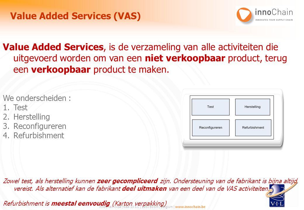 innoChain cvba | Kaai 33 3.1 | 2850 Boom | Belgium | www.innochain.be Value Added Services, is de verzameling van alle activiteiten die uitgevoerd wor