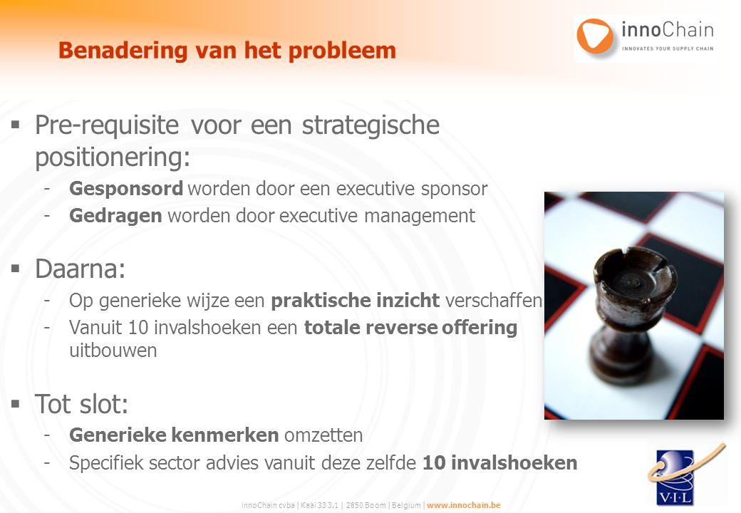 innoChain cvba | Kaai 33 3.1 | 2850 Boom | Belgium | www.innochain.be  Pre-requisite voor een strategische positionering: -Gesponsord worden door een
