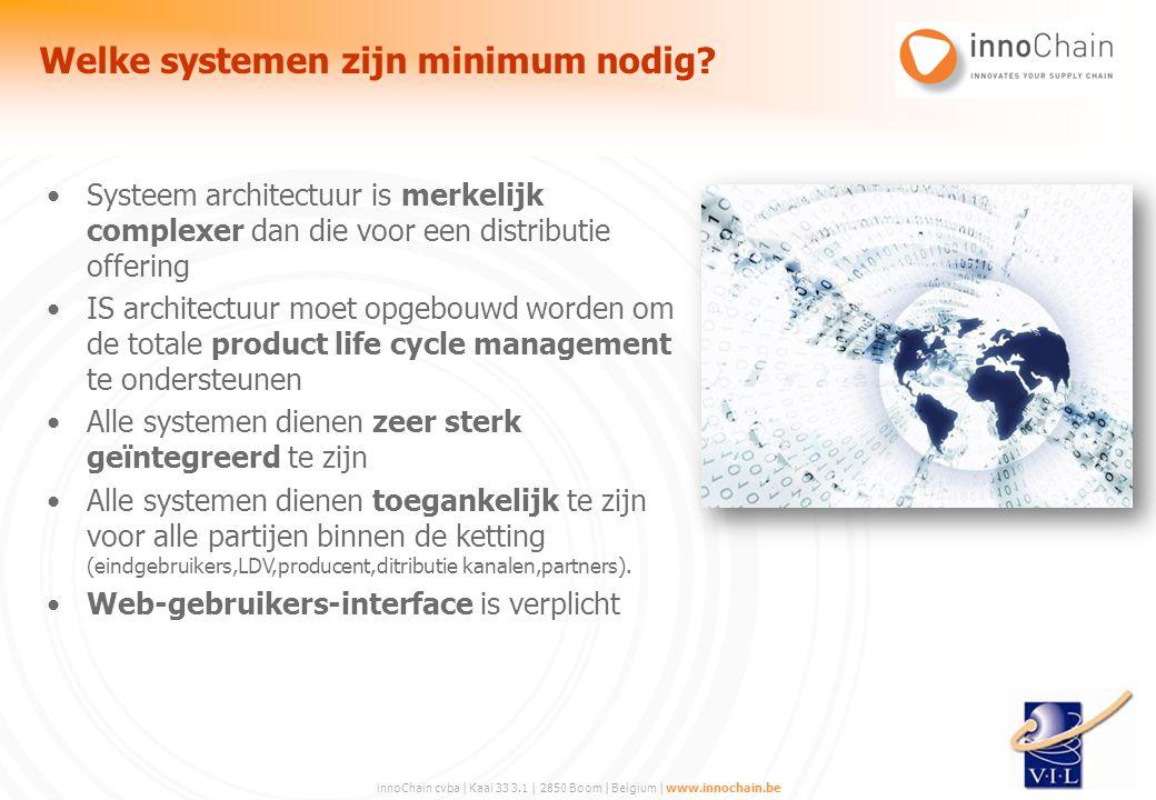 innoChain cvba | Kaai 33 3.1 | 2850 Boom | Belgium | www.innochain.be Systeem architectuur is merkelijk complexer dan die voor een distributie offerin