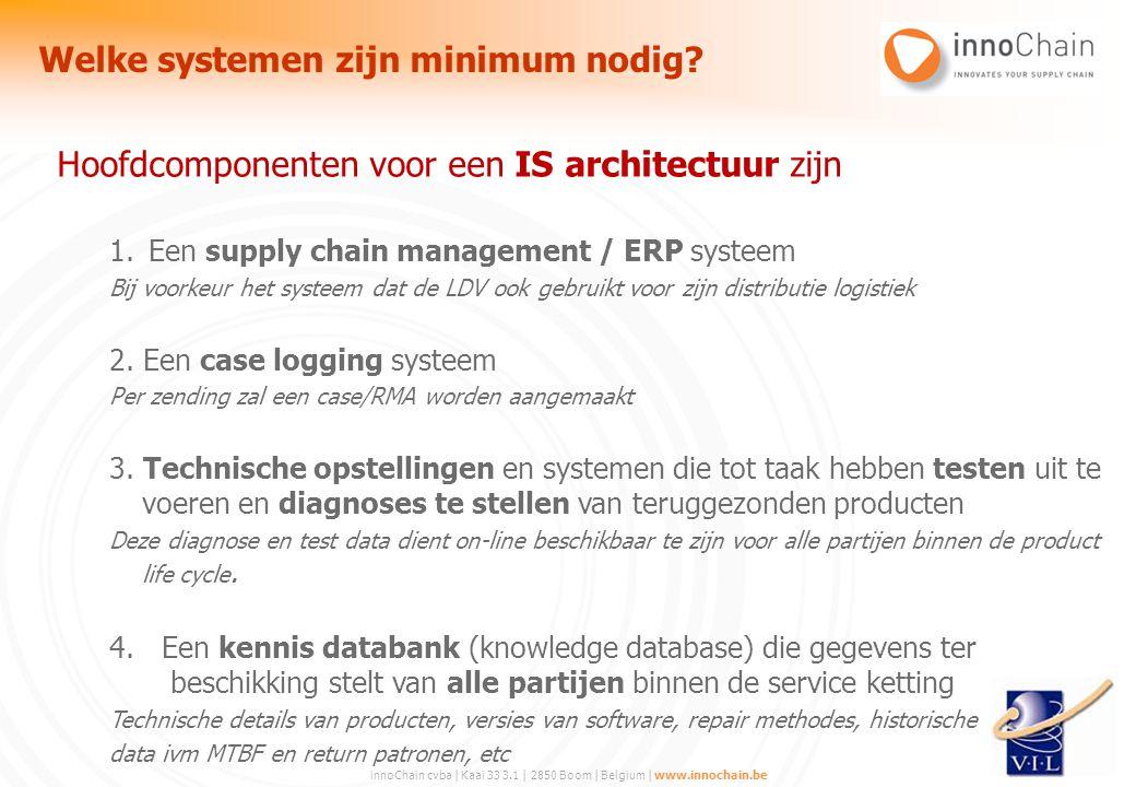 innoChain cvba | Kaai 33 3.1 | 2850 Boom | Belgium | www.innochain.be Hoofdcomponenten voor een IS architectuur zijn 1.Een supply chain management / E