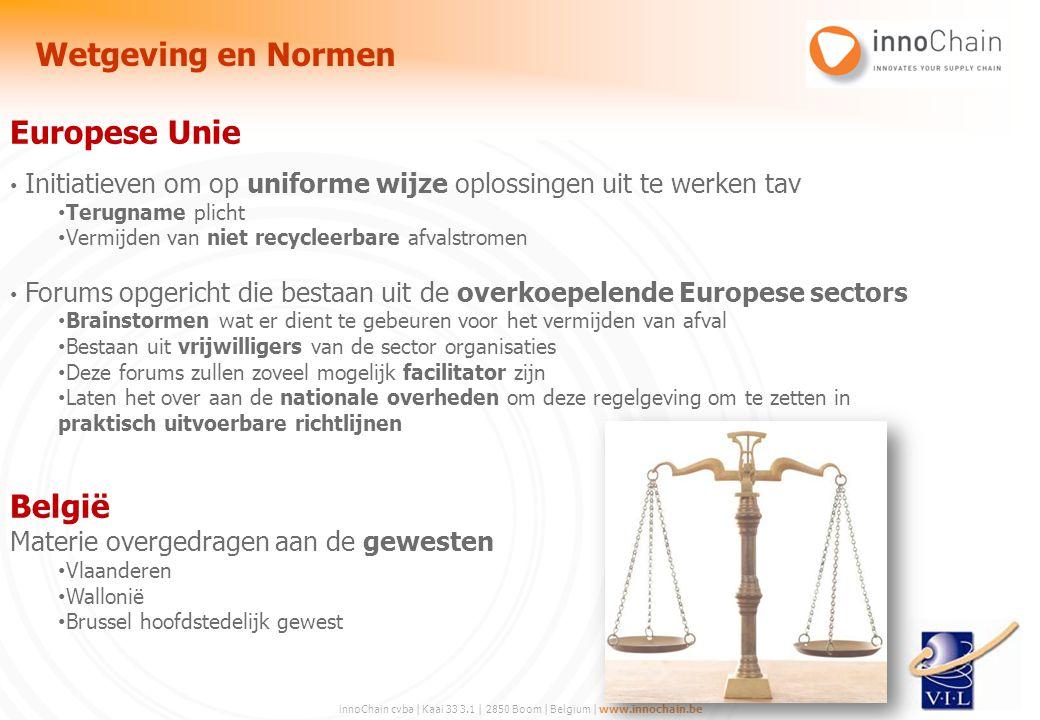 innoChain cvba | Kaai 33 3.1 | 2850 Boom | Belgium | www.innochain.be Europese Unie Initiatieven om op uniforme wijze oplossingen uit te werken tav Te