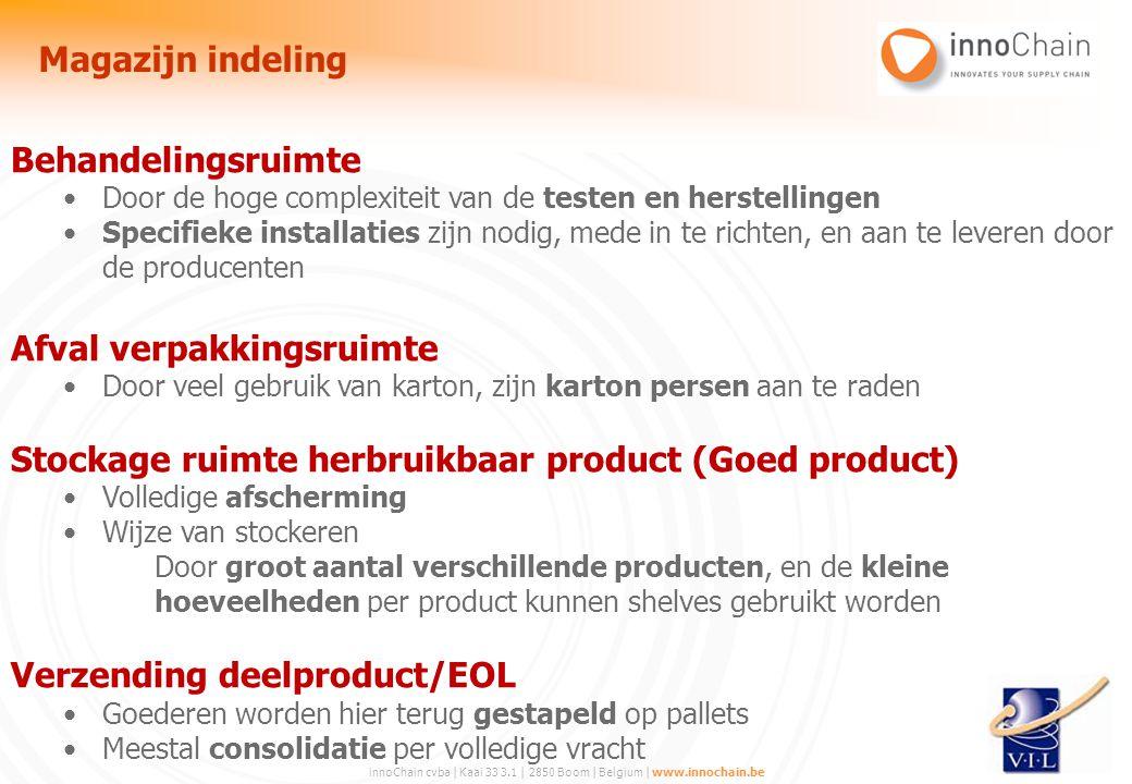 innoChain cvba | Kaai 33 3.1 | 2850 Boom | Belgium | www.innochain.be Behandelingsruimte Door de hoge complexiteit van de testen en herstellingen Spec