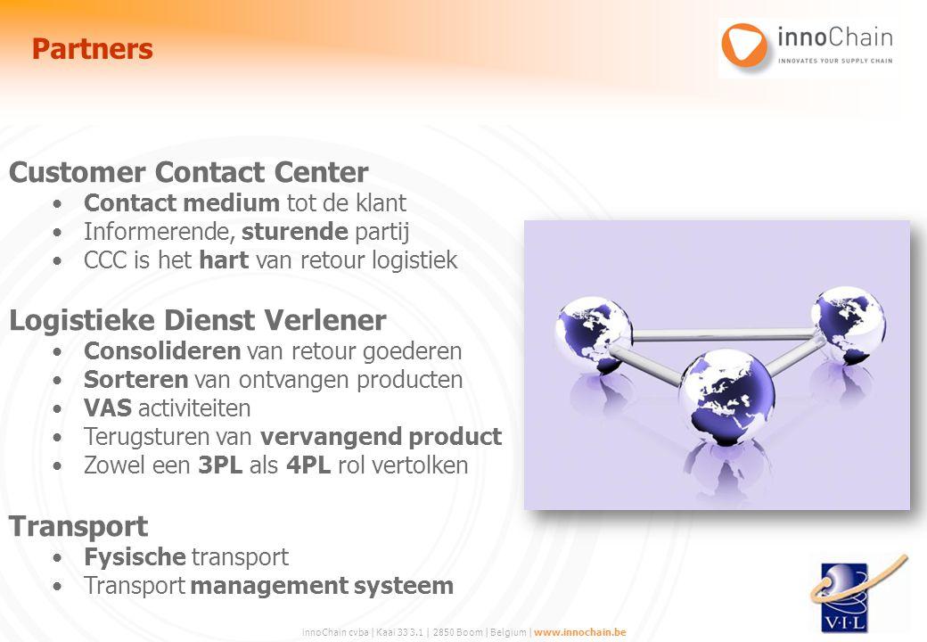innoChain cvba | Kaai 33 3.1 | 2850 Boom | Belgium | www.innochain.be Customer Contact Center Contact medium tot de klant Informerende, sturende parti