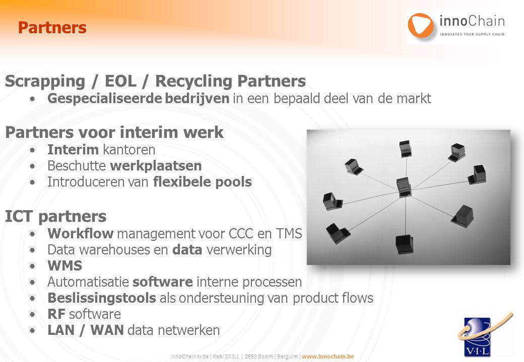 innoChain cvba | Kaai 33 3.1 | 2850 Boom | Belgium | www.innochain.be Scrapping / EOL / Recycling Partners Gespecialiseerde bedrijven in een bepaald d