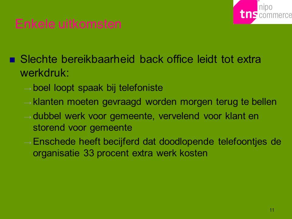 11 Slechte bereikbaarheid back office leidt tot extra werkdruk: → boel loopt spaak bij telefoniste → klanten moeten gevraagd worden morgen terug te be