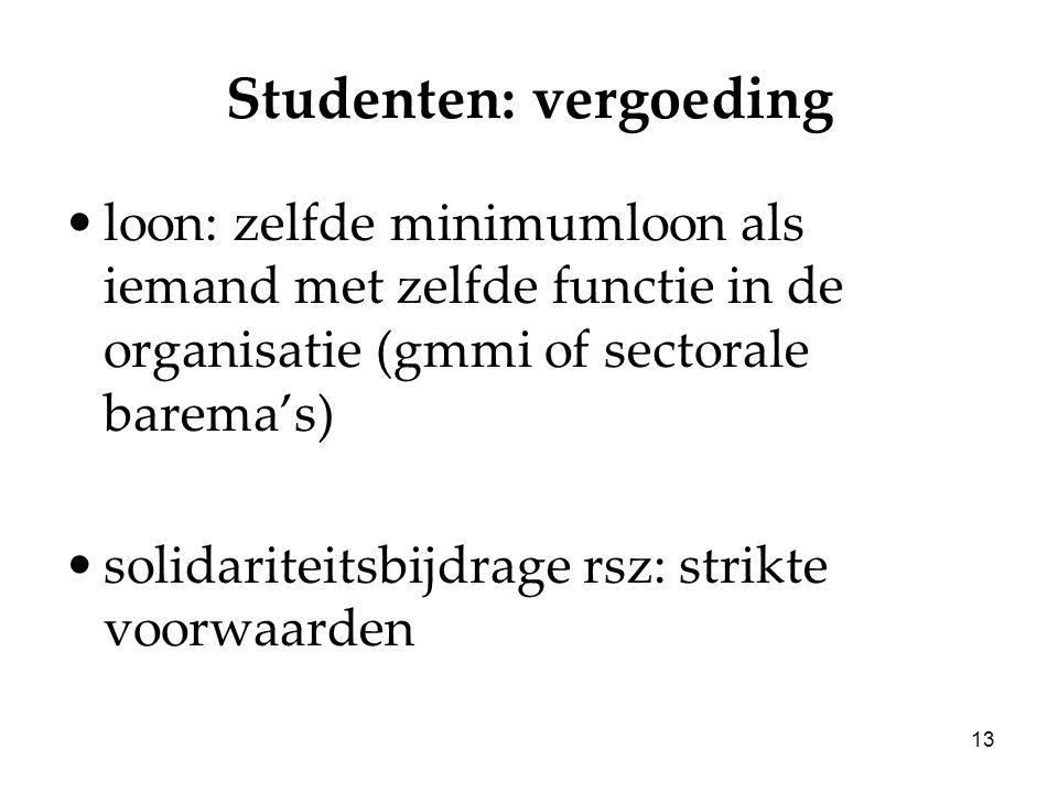 13 Studenten: vergoeding loon: zelfde minimumloon als iemand met zelfde functie in de organisatie (gmmi of sectorale barema's) solidariteitsbijdrage rsz: strikte voorwaarden