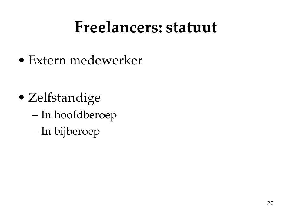 20 Freelancers: statuut Extern medewerker Zelfstandige –In hoofdberoep –In bijberoep