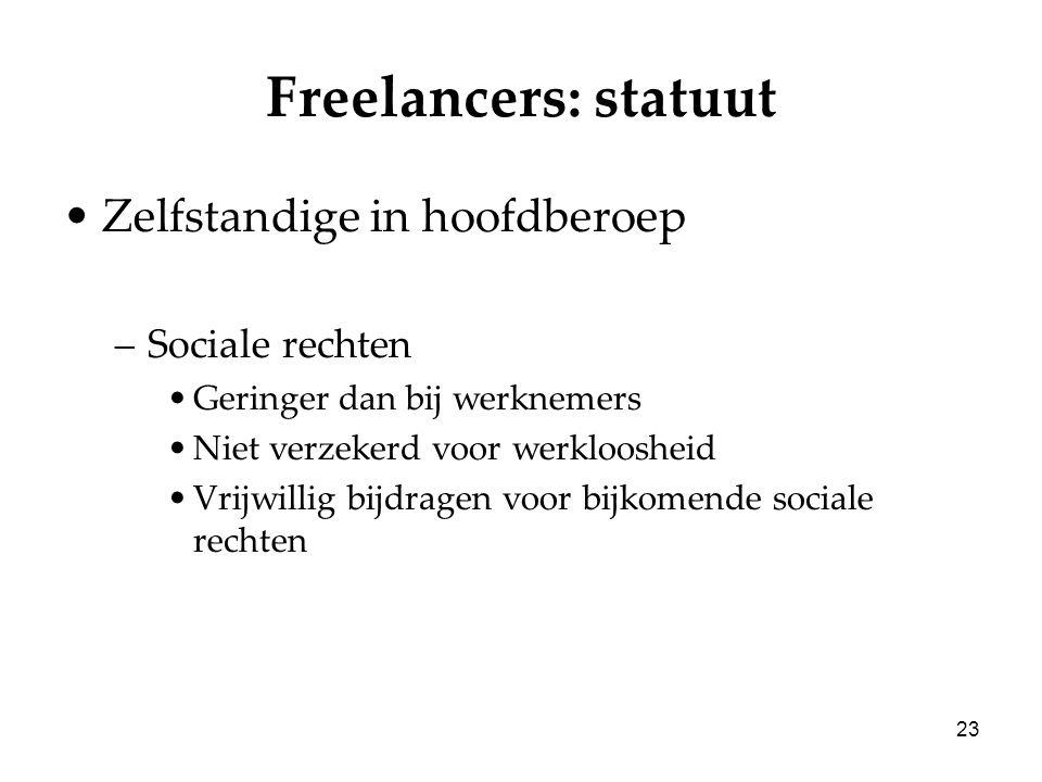 23 Freelancers: statuut Zelfstandige in hoofdberoep –Sociale rechten Geringer dan bij werknemers Niet verzekerd voor werkloosheid Vrijwillig bijdragen voor bijkomende sociale rechten