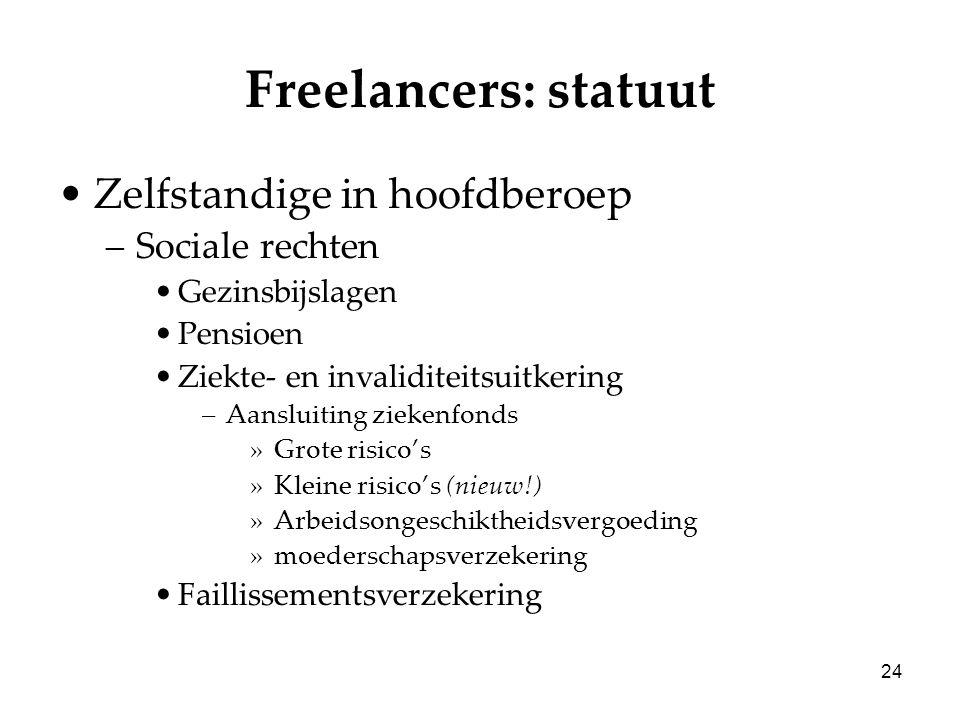 24 Freelancers: statuut Zelfstandige in hoofdberoep –Sociale rechten Gezinsbijslagen Pensioen Ziekte- en invaliditeitsuitkering –Aansluiting ziekenfon