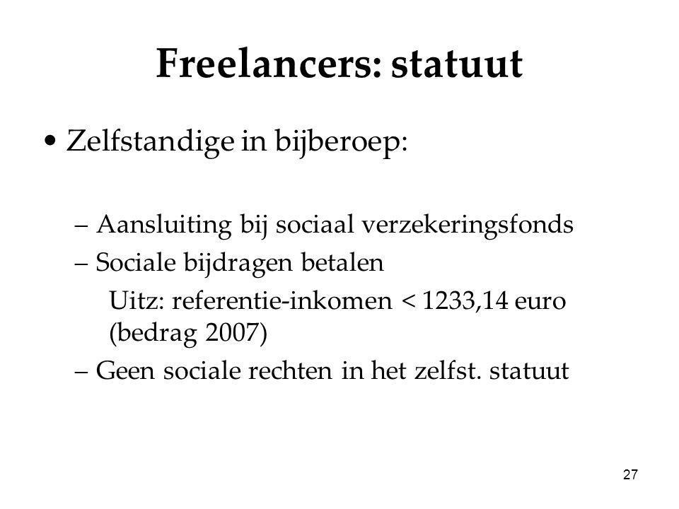 27 Freelancers: statuut Zelfstandige in bijberoep: –Aansluiting bij sociaal verzekeringsfonds –Sociale bijdragen betalen Uitz: referentie-inkomen < 12