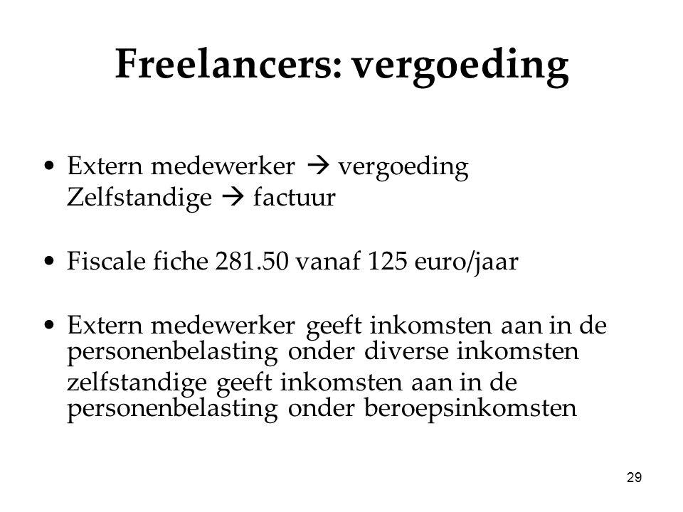 29 Freelancers: vergoeding Extern medewerker  vergoeding Zelfstandige  factuur Fiscale fiche 281.50 vanaf 125 euro/jaar Extern medewerker geeft inko