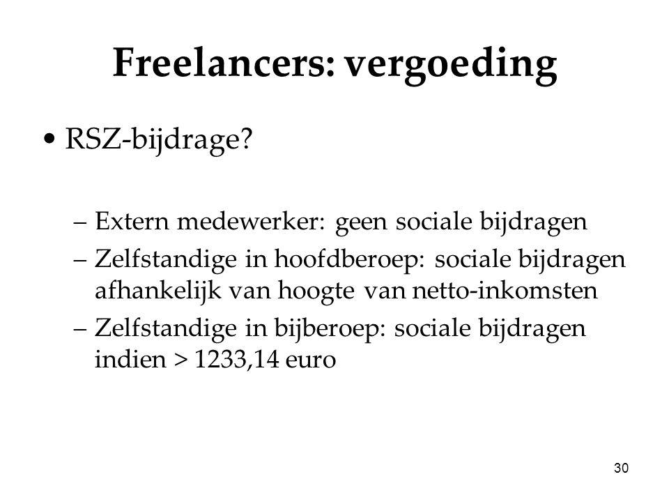 30 Freelancers: vergoeding RSZ-bijdrage? –Extern medewerker: geen sociale bijdragen –Zelfstandige in hoofdberoep: sociale bijdragen afhankelijk van ho