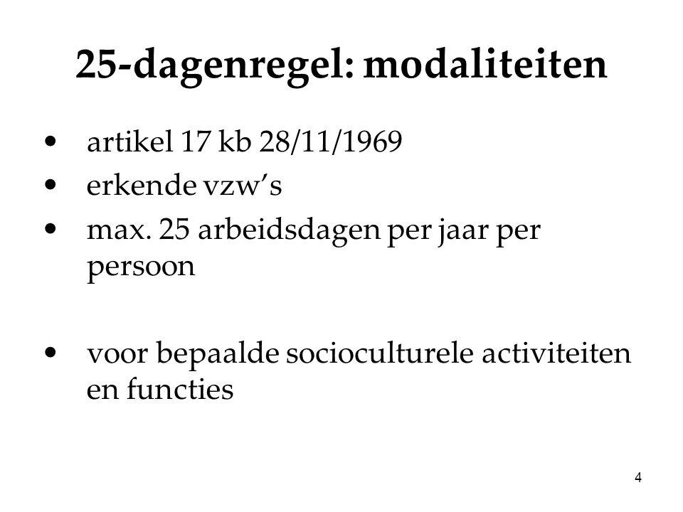 4 25-dagenregel: modaliteiten artikel 17 kb 28/11/1969 erkende vzw's max. 25 arbeidsdagen per jaar per persoon voor bepaalde socioculturele activiteit