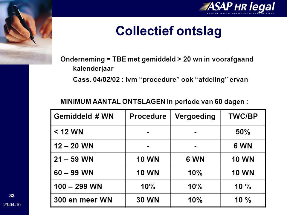 33 23-04-10 Collectief ontslag Onderneming = TBE met gemiddeld > 20 wn in voorafgaand kalenderjaar Cass.