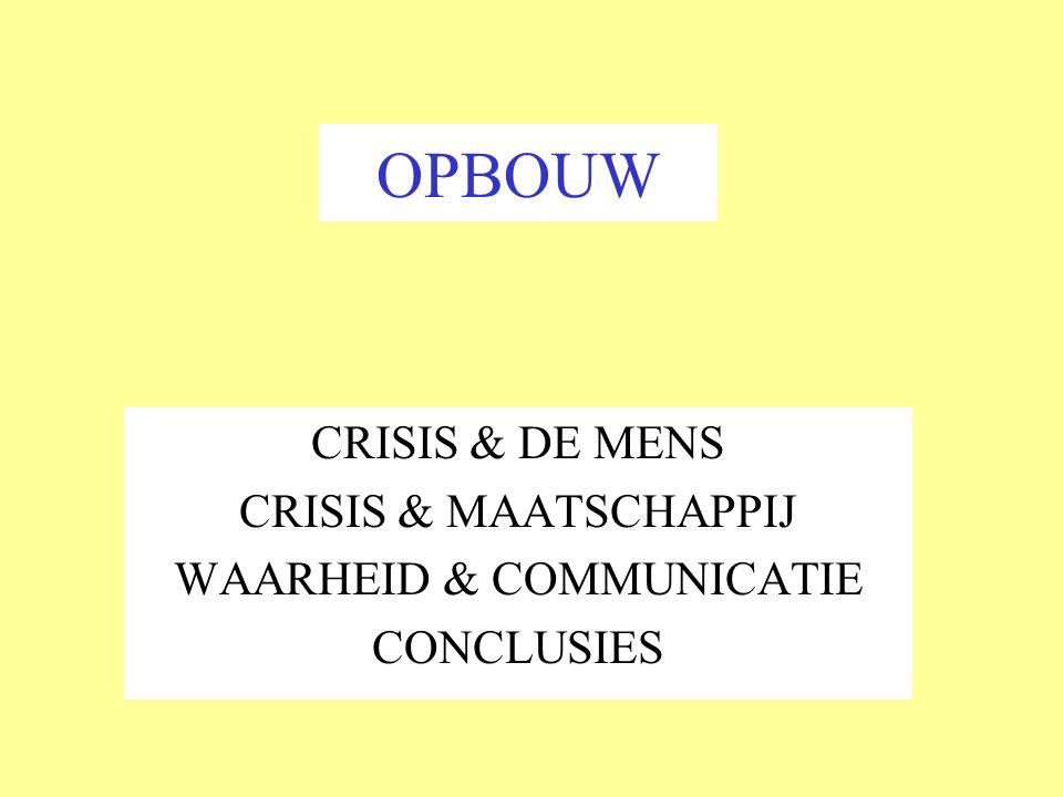 CRISISLEIDERSCHAP Crisis: Ernstige verstoring van normale gang van zaken en organisatievormen.