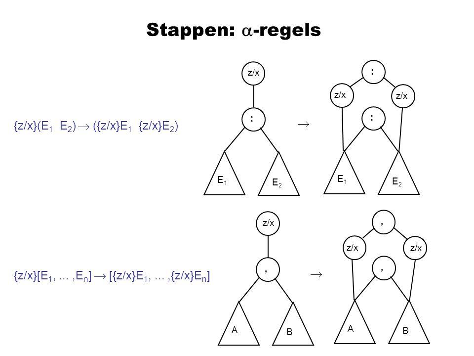 Stappen:  -regels {z/x}(E 1 E 2 )  ({z/x}E 1 {z/x}E 2 ) {z/x}[E 1,...,E n ]  [{z/x}E 1,...,{z/x}E n ] z/x : E1E1 E2E2 : : E1E1 E2E2,, A B, A B  
